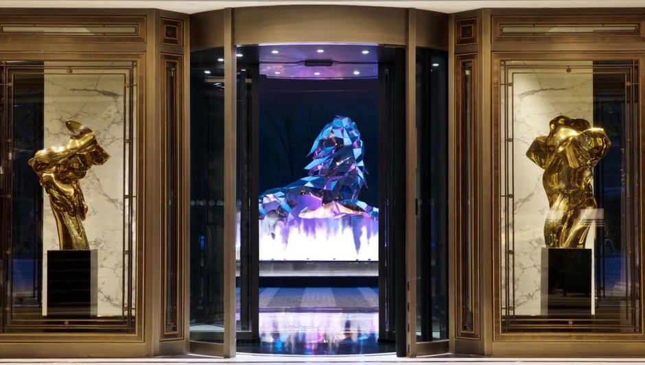 HELAINE BLUMENFELD polished bronze scupltures commissioned for the Bellagio, Shanghai entrance.